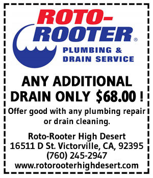 Roto Rooter Discount Coupon - Drain Cleaning - Plumbing Repair - High Desert - Victorville